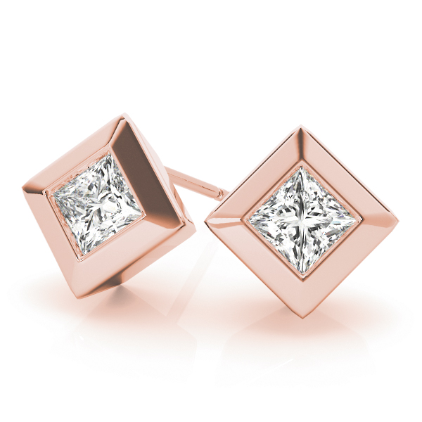Princess Bezel Earrings 0.46 Ct. Rose Gold