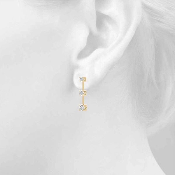 Three Stone Platinum Journey Earrings