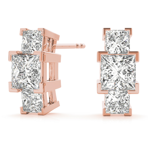 3 Princess Diamond Earrings Rose Gold