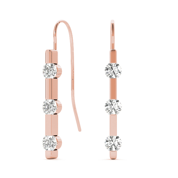 3 Diamond Journey Drop Earrings Rose Gold