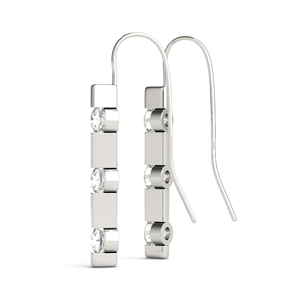 3 Diamond Journey Drop Earrings Platinum
