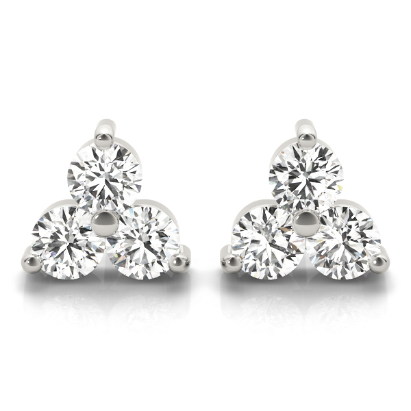 Three Stone Triangle  Earring Platinum