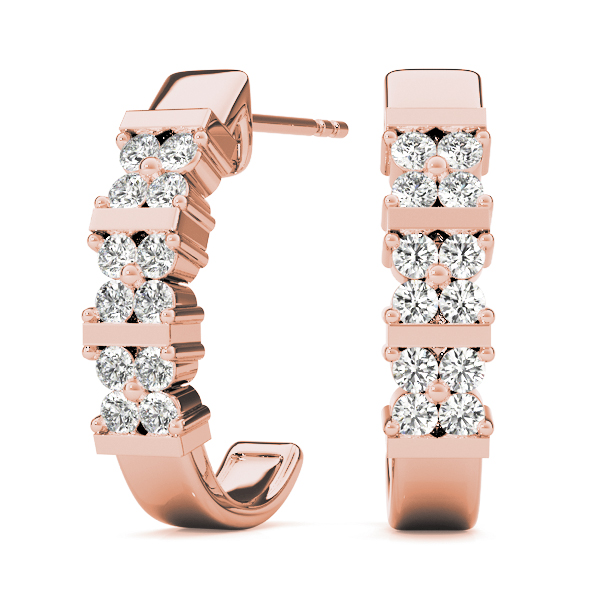 Flower Hoop Earrings Rose Gold