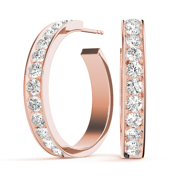 Open Hoop Earrings Rose Gold 0.24 Ct.