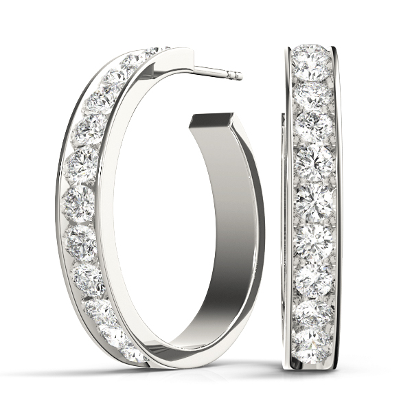 Open Hoop Diamond Earrings 1.92