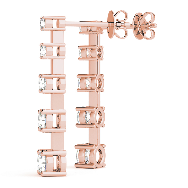 5 Diamond Journey Earrings Rose Gold