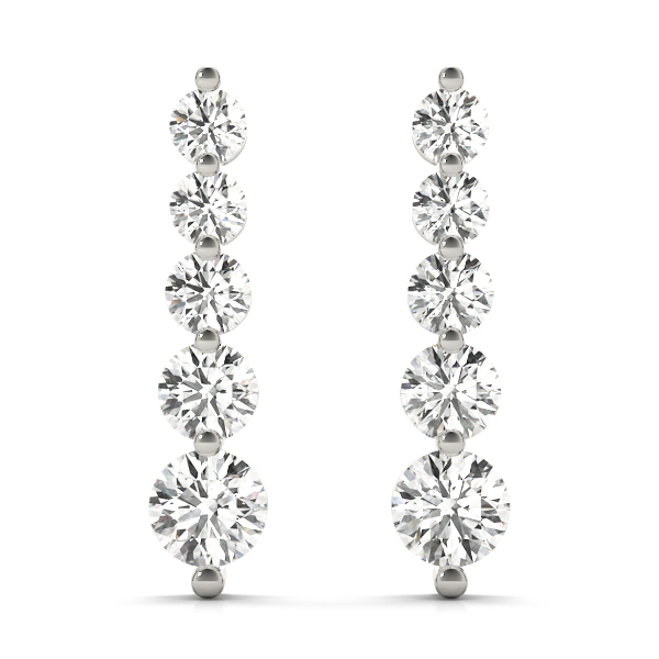 5 Diamond Journey Drop Earrings Platinum