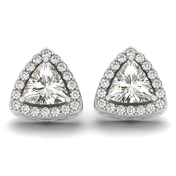 Filigree Trillion Halo Earring 0.88 ct.