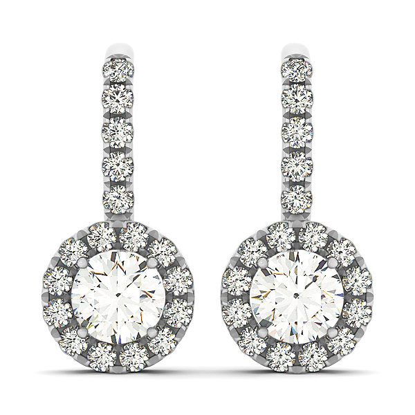 Drop Hoop Halo Diamond Earrings 0.5 ct.