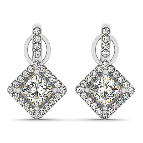 Princess Diamond Drop Halo Earrings