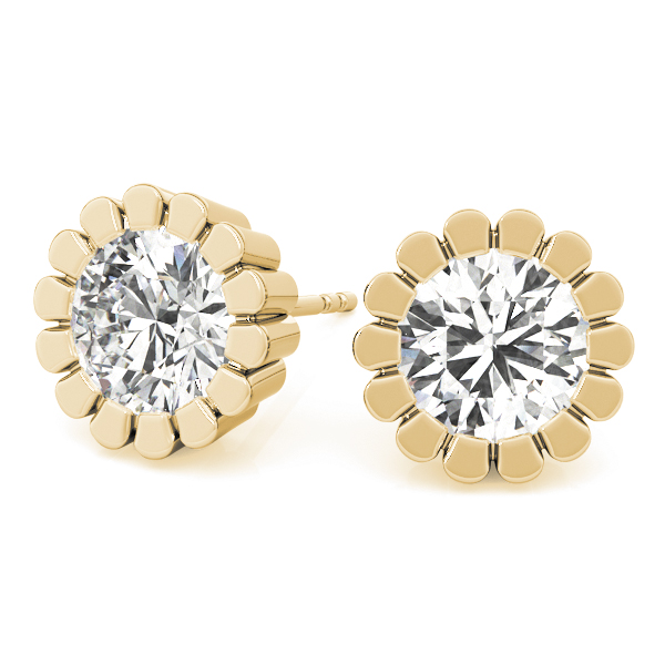 Round Flower Earrings 0.5 Ct. Yellow Gold