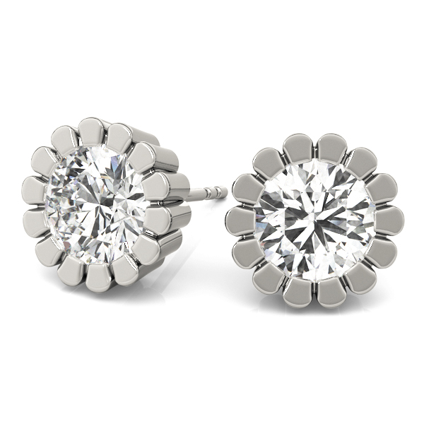 Round Flower Stud Earrings 0.24 Ct.