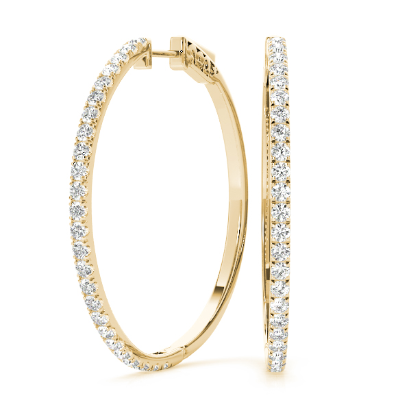 1 ct. Diamond Hoops Yellow Gold