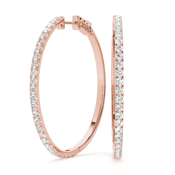1 ct. Diamond Hoops Rose Gold