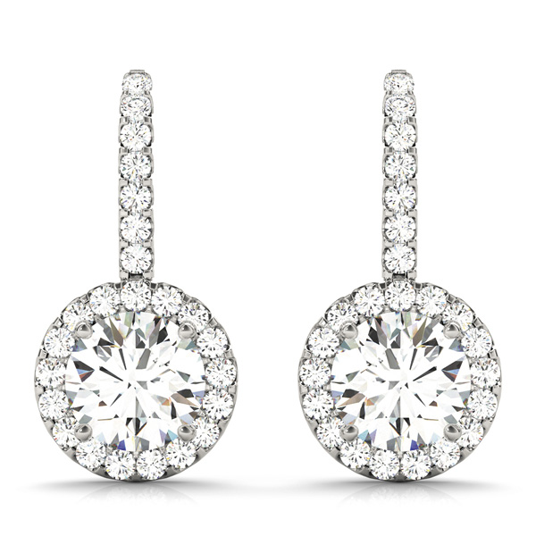 Drop Hoop Halo Diamond Earrings 0.64 ct.