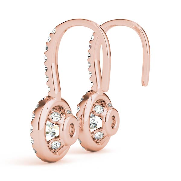 Drop Hoop Halo Diamond Earrings Rose Gold 1.22 ct.