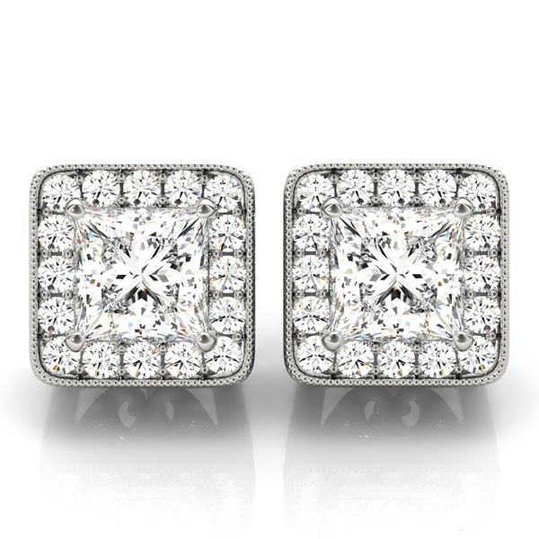 Princess Halo Filigree Earring 1.12 ct.