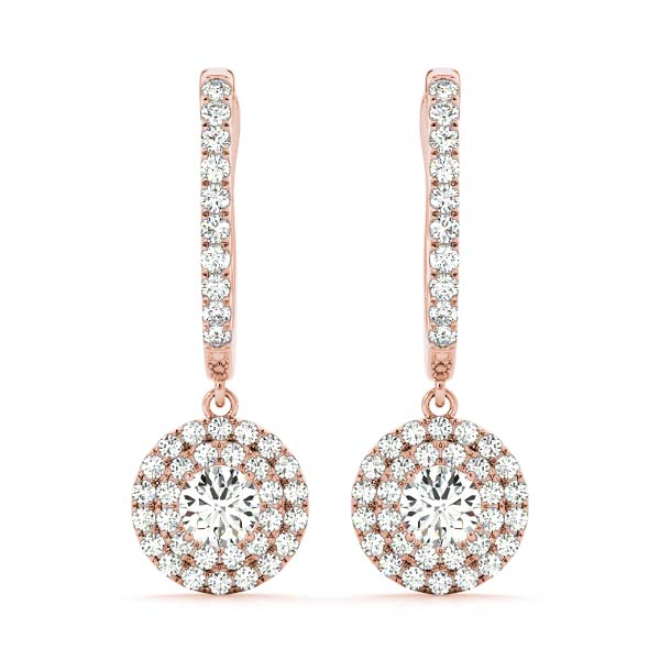 Drop Hoop Double Halo Diamond Rose Gold Earrings 1.55 ct.