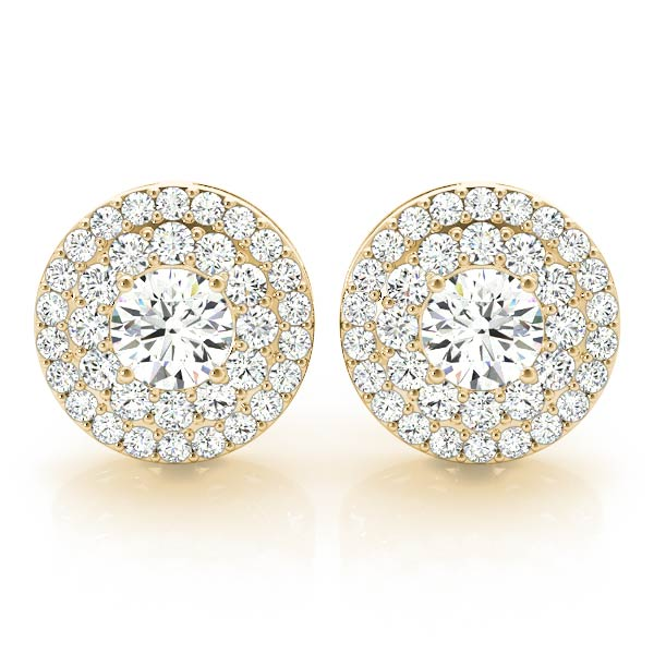 Double Halo Diamond Earring Yellow Gold 1.56 ct.