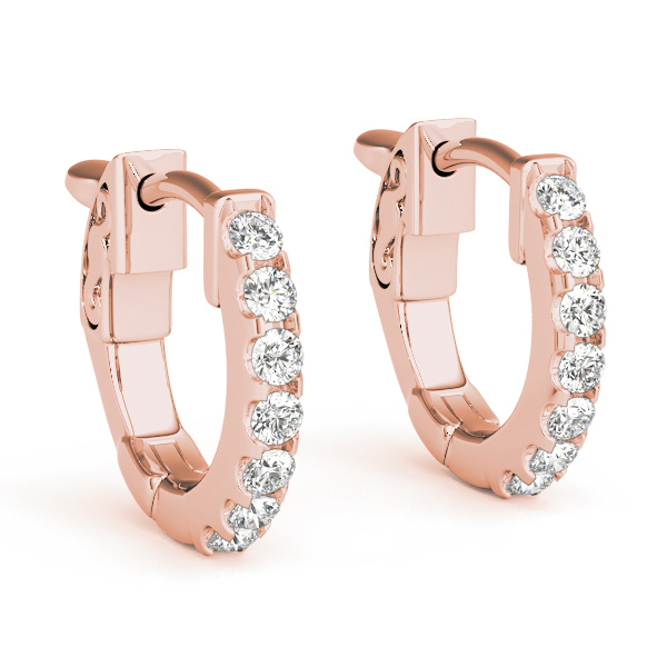 Diamond Hoop Earrings in Rose Gold, 1/2