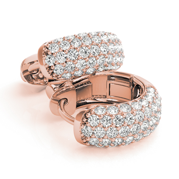 Five Row Dome Etoil Pave Diamond Hoop Huggie Earrings in Rose Gold