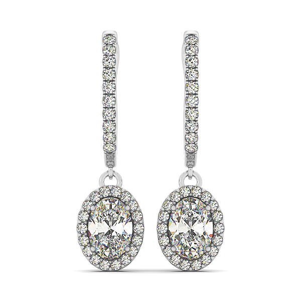 Oval Halo Drop Hoop Earring 0.91 ct.