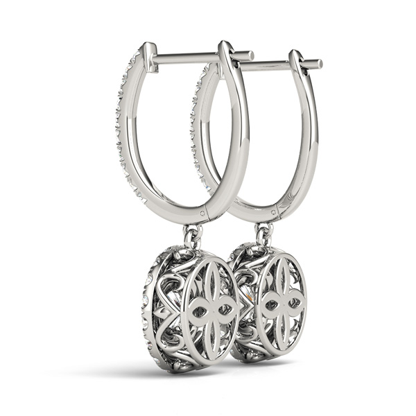 Double Halo Filigree Diamond Earrings