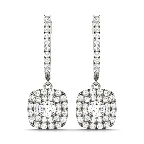 Cushion Double Halo Filigree Diamond Earrings