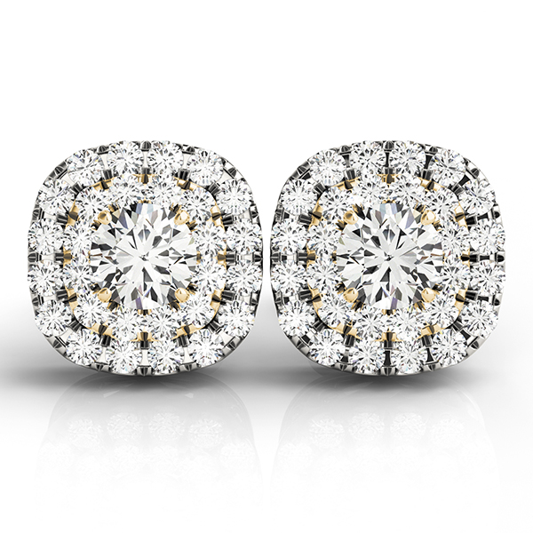 Cushion Shaped Double Halo Diamond Two Tone Earring 0.88 ct.