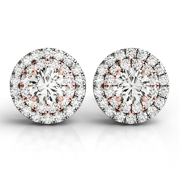 Double Halo Diamond Rose Gold Earring 1.45 ct.