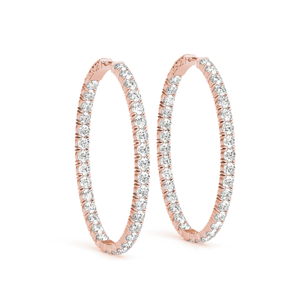 Oval Shaped Inside Outside Diamond Hoop Earrings, Core Lock, in Rose-Gold,  1.75
