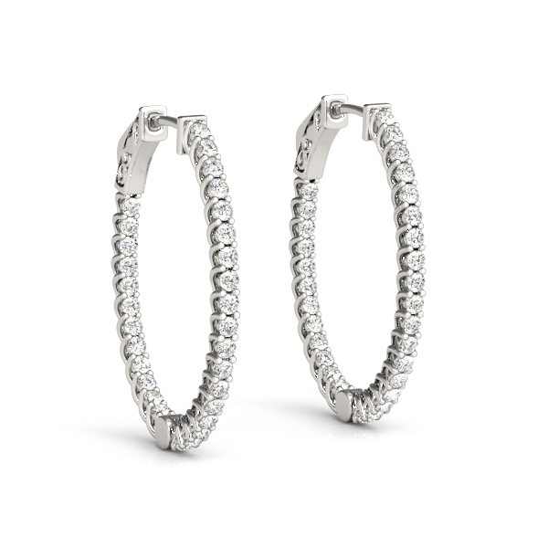 Oval Trellis Inside Outside Diamond Hoope Earrings, Core Lock, 1