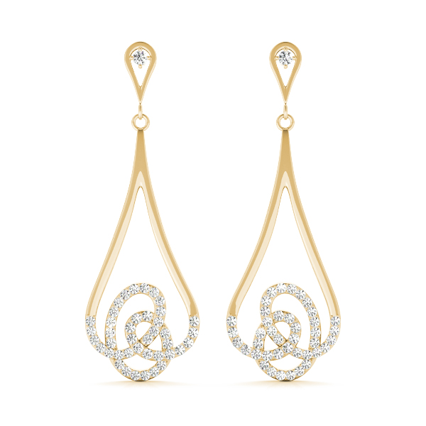 Dangling Diamond Earrings Yellow Gold