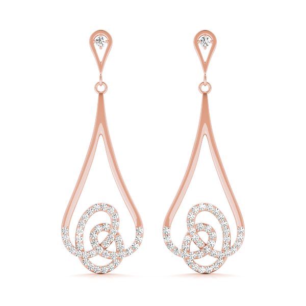 Dangling Diamond Earrings Rose Gold