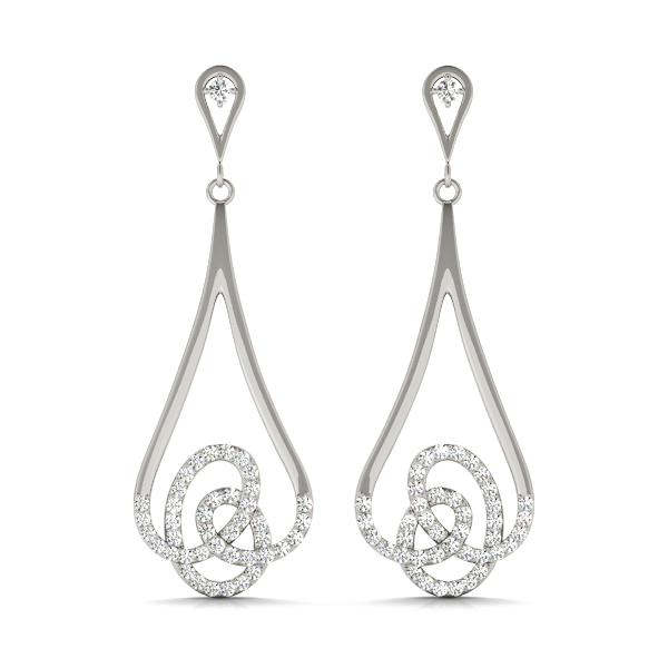 Dangling Diamond Knot Earrings