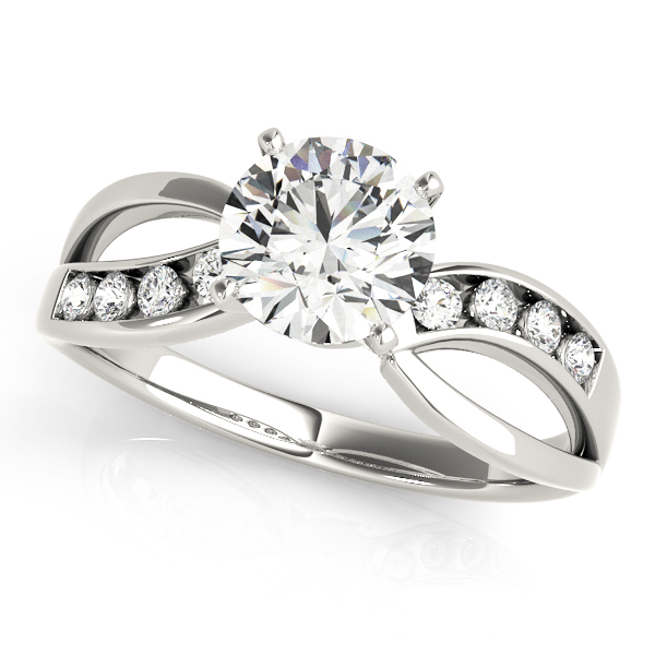 Swirl Channel Diamond Engagement Ring