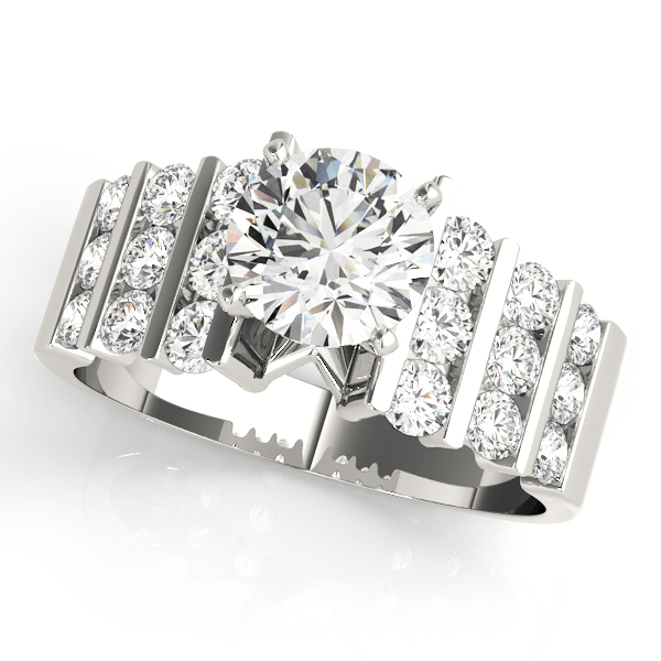 Multi-Row Graduated Round Diamond Engagement Ring