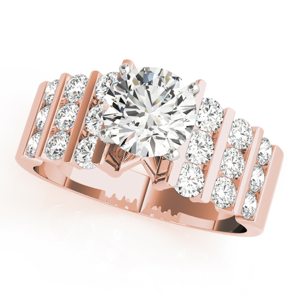 Multi-Row Graduated Round Diamond Bridal Set in Rose Gold
