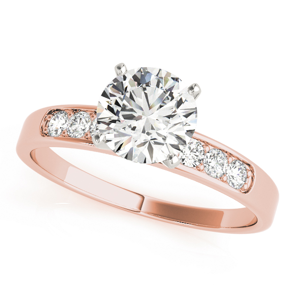 Classic Channel Petite Diamond Engagement Ring & Wedding Band in Rose Gold