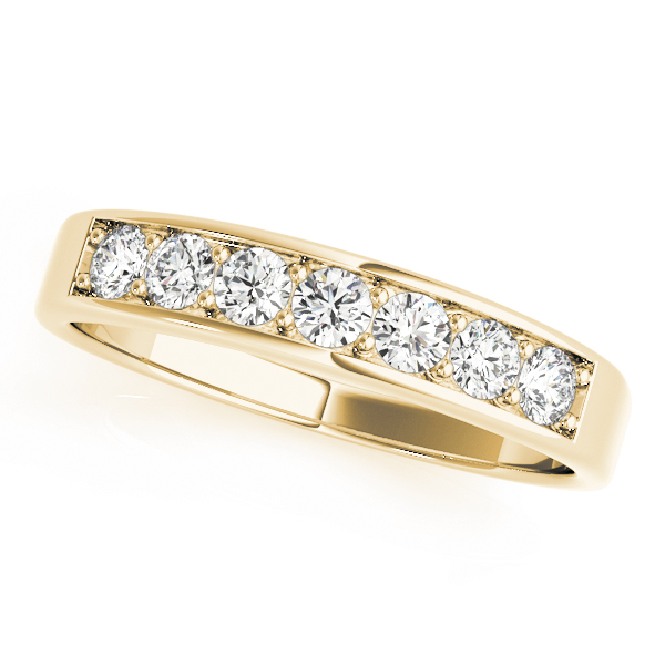 Classic Channel Petite Diamond Engagement Ring & Wedding Band in Yellow Gold