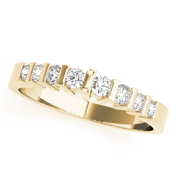 Multi-Row Graduated Round Diamond Bridal Set in Yellow Gold