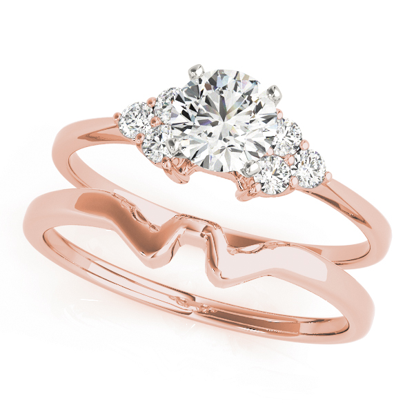 Petite Trio Cluster Engagement Ring & Wedding Band in Rose Gold