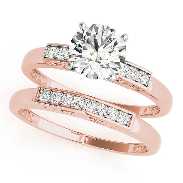 Petite Diamond Engagement Ring & Wedding Band in Rose Gold