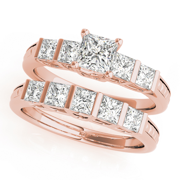 Princess Diamond Bridal Set in Rose Gold