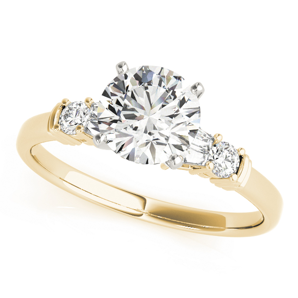 Classic Round & Baguette Cut Diamond Engagement Ring in Yellow Gold