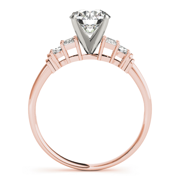 Classic Round & Baguette Cut Diamond Bridal Set in Rose Gold