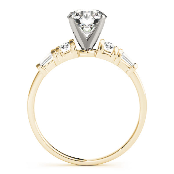 Classic Petite Round & Baguette Cut Diamond Engagement Ring in Yellow Gold