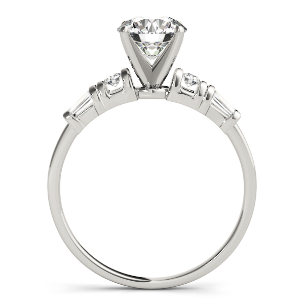 Classic Petite Round & Baguette Cut Diamond Engagement Ring