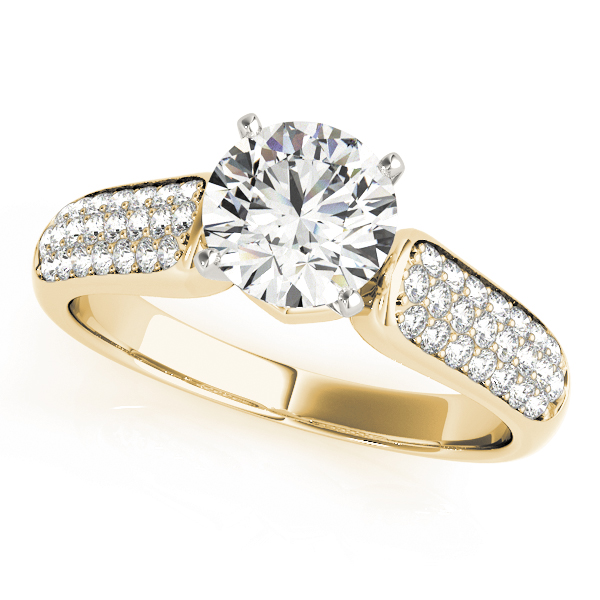 Multi-Row Diamond Engagement Ring in Yellow Gold
