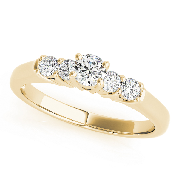 Five Stone Diamond Engagement Ring with Heart Shaped Filigree in Yellow Gold